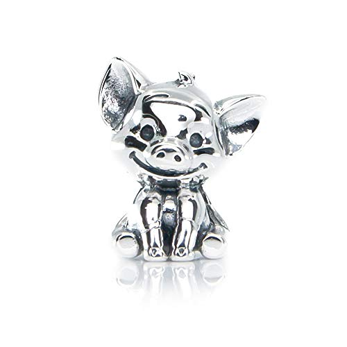 Lucky the Pig Sterling Silver Charm Bead S925, Cute Piglet Piggy Chinese Zodiac 2019 Silver Charm Bead Pendant, Silver Pig Necklace, fits Pandora Charm Jewellery
