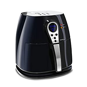Elite Platinum 3.2 Quart Electric Digital Air Fryer Cooker, 1400-Watts with 26 Full Color Recipes (Black)
