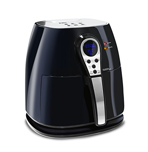 Elite Platinum 3.2 Quart Electric Digital Air Fryer Cooker, 1400-Watts with 26 Full Color Recipes (Black) (Phillips To The Healthy Way Fry)