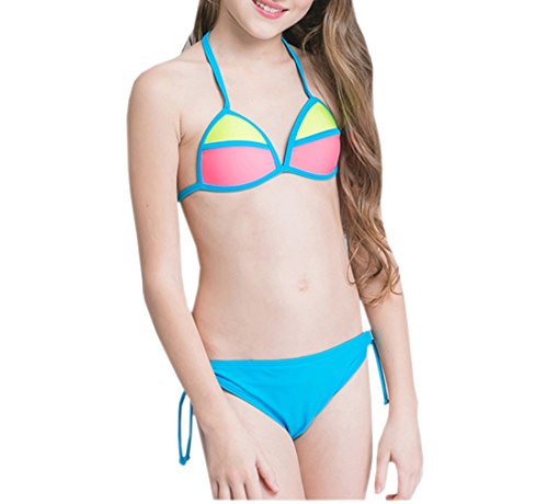 Nylon Bain Eté Maillot Fille Bikini De Swimwear Deux Pièces Plage Voyage Beachwear Enfant Bleu Acvip wXq7zz