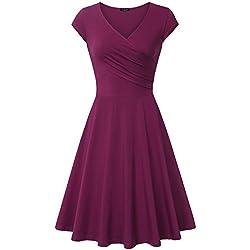 Laksmi Elegant Dresses, Womens Casual Dress A Line Cap Sleeve V Neck (Small, Magenta)