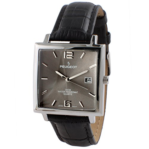 Peugeot Men's 'Modern Rectangular' Quartz Metal and Leather Casual Watch, Color Black (Model: 2062GY)