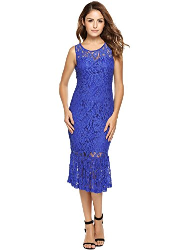 ANGVNS Women's Floral Lace Dress Sleeveless Bodycon Cocktail Party Wedding Dress(Blue,L)
