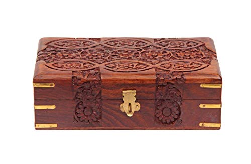 - storeindya Jewelry Box Novelty Item, Unique Artisan Traditional Hand Carved Jewelry Box From India (Design 10)