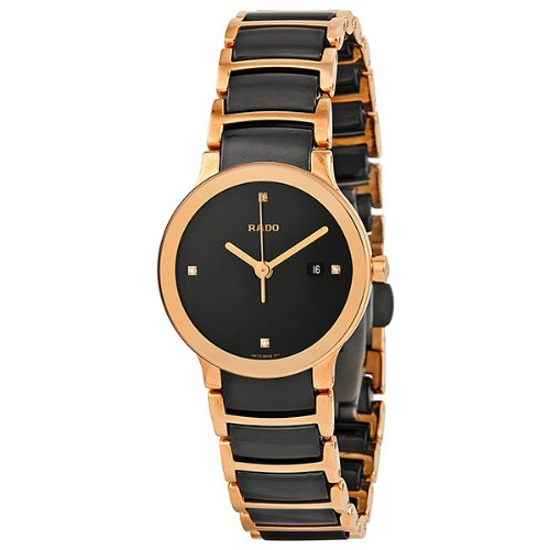 Rado-Centrix-Black-Dial-SS-Two-Tone-Ceramic-Quartz-Ladies-Watch-R30555712