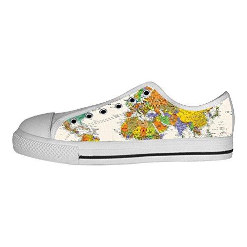 Canvas Tetto Lacci Delle Da Del Custom Ginnastica Scarpe Shoes Mappa Mondo Women's I Alto qcOIS