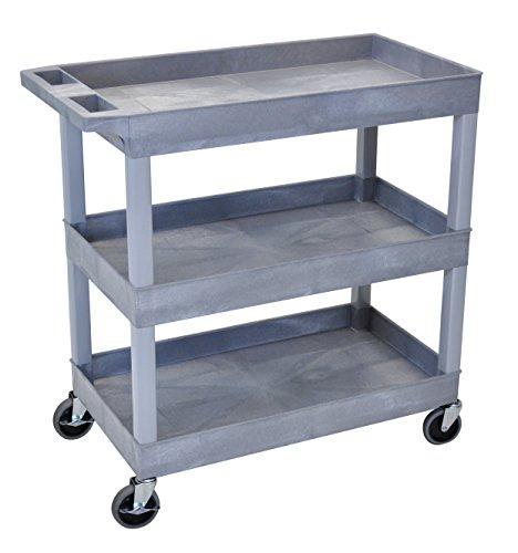 "Luxor 32"" x 18"" Tub Storage Cart 3 Shelves - Gray"