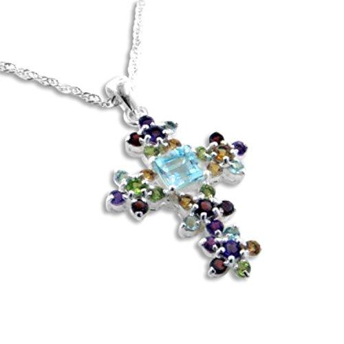Blue Cross Topaz Peridot - Radiant Cluster Blue Topaz Natural Gemstone Flower Cross Pendant 20