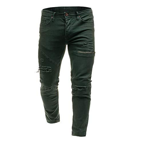 Verde Elastici Cerniera pantaloni Pantaloni Autunno Inverno Jeans pantaloni Skinny Da Eleganti Uomo Attillati Con Pantaloni In Casual Meibax Sottile Denim Sq1wHCUnn