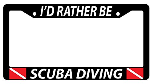 I'D RATHER BE SCUBA DIVING w/FLAGS Black Plastic License Plate Frame
