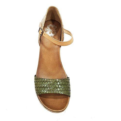 Sandalia piel kaki talon cerrado cuerda. Talla 40