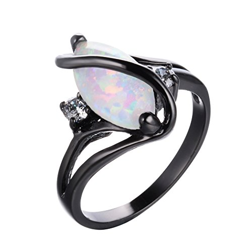 Adeser Jewelry Womens S Promise Rings for Her Lab White Opal Engagement Wedding Black Gold Plated Womens Ring Size 5-11