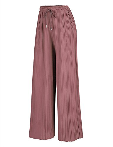 - LL WB1485 Womens Pleated Palazzo Pants with Drawstring OS Mauve