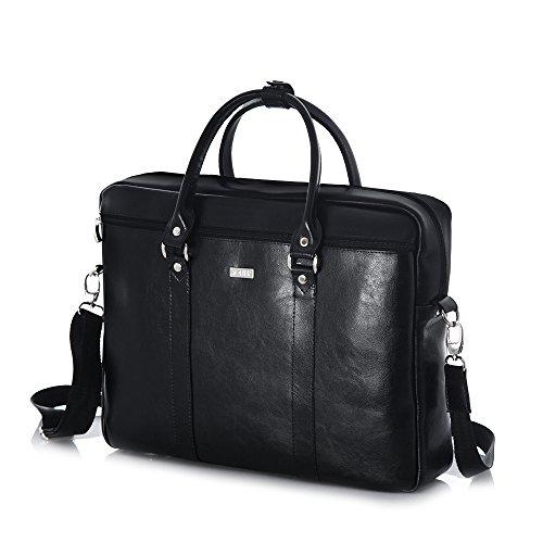 Solier para hombre piel auténtica bolsa de hombro portátil Macbook Premium kilbridge SL03 marrón 42 x 31 x 10 cm negro