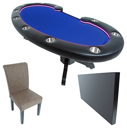 BBO Poker Lumen HD Lighted Poker Table for 10 Players with Blue Felt Playing Surface, 101.5 x 46-Inch Oval, Includes Matching Dining Top with 10 Lounge ()