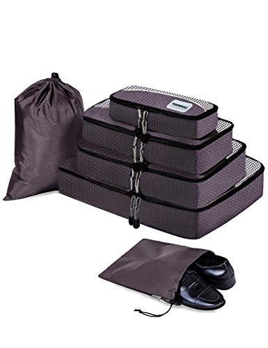 HOPERAY Packing Cubes Travel Organizer Mesh Bags Travel Gear Bag Accessories (Grey)