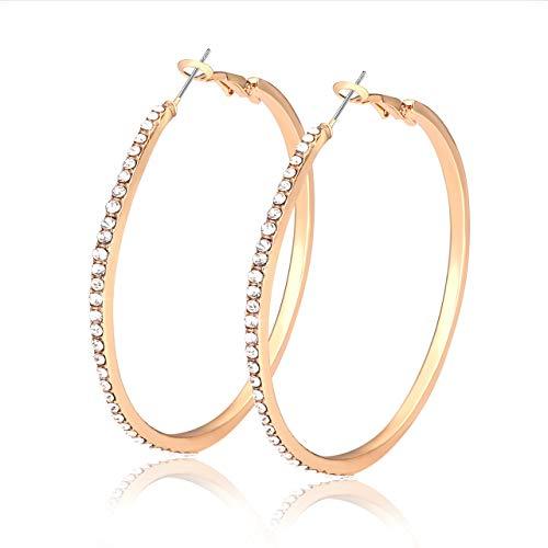 (Liao Jewelry Crystal Hoop Earrings for Women Large Dazzling Rhinestone Circle Fashion Earrings Girls Sensitive Ears Pierced Earrings (Gold))