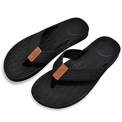 KUAILU Mens Flip Flops Thong Sandals Yoga Foam Slippers Black Size: 7