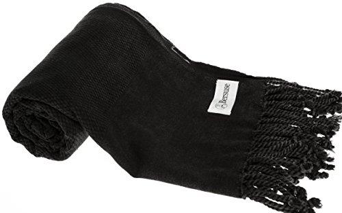 Bersuse 100% Cotton Zuma Stonewashed Turkish Towel - 33X66 Inches, Black