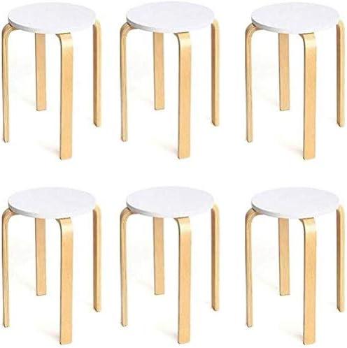 4脚5,6木製ラウンドスツールパック、アンチスリップ曲げ木スタッキングスツール、頑丈なスツールチェア、キャンディ色小さなテーブルスツール (Color : C)