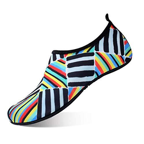 (JIASUQI Women's Summer Sports Water Shoes for Pool Beach Red Blue US 5.5-6.5 Women, 5-5.5 Men)