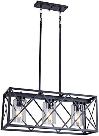 MELUCEE Kitchen Island Lighting 3-Light Black Rectangle Dining Room Lighting Fixtures Hanging