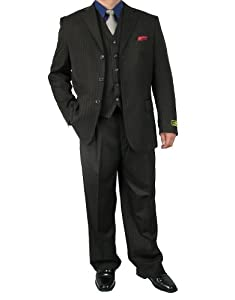 B00K7HJOBC Sharp 3pc Men's 3B. Pinstripe Dress Suit with Expandable Waistband – Brown 40S