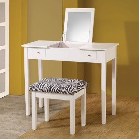 Coaster Lift-Top Vanity with Upholstered Stool, White/Zebra