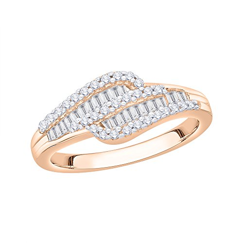 KATARINA Round and Baguette Cut Diamond Wedding Band in 14K Rose Gold (1/2 cttw G-H, I2-I3) (Size-5.25)