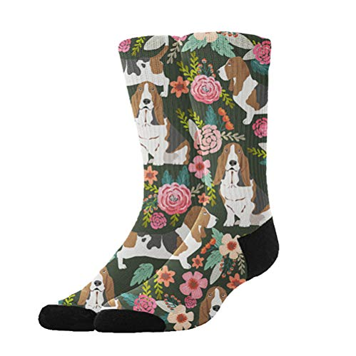 YEAHSPACE Women's Basset Hound Dog Winter Super Soft Warm Cozy Slipper Socks,Dress Socks Gift Halloween/X-mas/Holiday Year]()