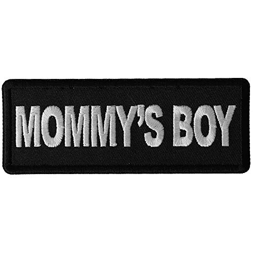 Mommy's Boy Patch - 4x1.5 inch - Embroidered Iron on Patch -