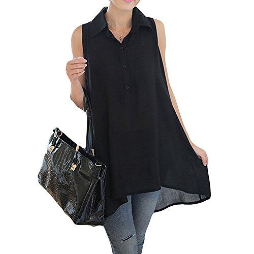 Asher Womens Summer Loose Sleeveless Long Tunic Top Blouse (XXL, Black)