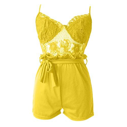 Thenxin Womens Jumpsuit Lingerie Lace Fishnet Cami Top Elastic Waist Belt Short Romper Playsuit(Yellow,XXL)