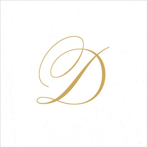 Entertaining with Caspari White Pearl Paper Linen Cocktail Napkins, Monogram Initial D, Pack of 30 ()