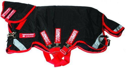 Rambo Supreme Vari-Layer Turnout Rug Black Red 5ft9