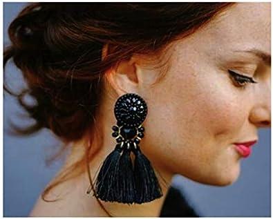 Comelyjewel Fashion Jewelry Girls Long Acrylic Resin Beads Tassel Charm Big Women Studs Earrings