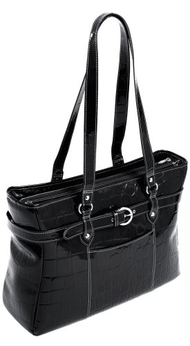 Siamod SERRA 35265 Black Leather Ladies' Laptop Tote by McKleinUSA