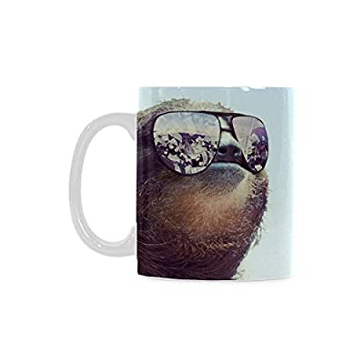 Funny Sloth Wearing Sunglasses White Ceramic Coffee Mugs Cup - 11Oz Sizes -