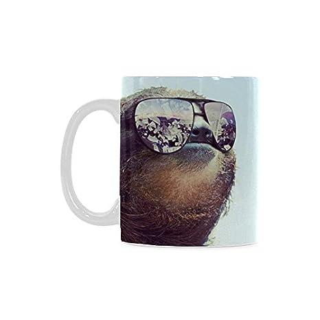 funny sloth wearing sunglasses white ceramic coffee mugs cup 11oz