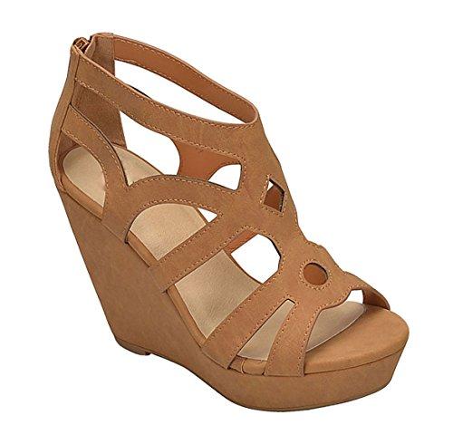 Strappy Zipper (MVE Shoes Platforms-Sandals, Women Fashion Wedge Zipper Sandal Peep Toe Platform Ankle Strappy Heel, Tan 7.5)