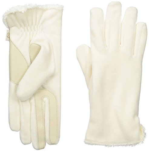 Isotoner Women's Stretch Fleece smarTouch Gloves with Spill, Ivory, One Size