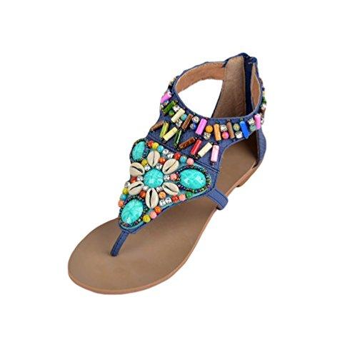 Femmes Plage Bleu Sandales Style Bohême Strap Sandales Ethnique Perles Strass De NiSeng T Toe Clip Flats Sandales 1AdTq1B