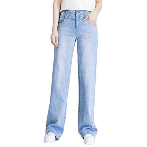 Xinwcanga Femmes D't Jeans Taille Haute Casual Ample Pantalon Straight Lache Denim Trousers Blanc Bleu