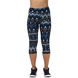 Women's Active Workout Capri Leggings Shorts Stretchy Tights(Green,XL)