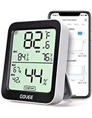 Govee Hygrometer Thermometer, Bluetooth Humidity Meter with APP Alerts and Data Storage, Room Thermometer with Large LCD Display, Max Min Records, Temperature and Humidity Monitor for Room Greenhouse Garage Wine Cellar
