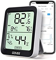 Govee Indoor Hygrometer Thermometer, Humidity Temperature Gauge with Large LCD Display, Notification Alert with Max Min...