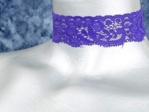 15 Colors, 5 Adjustable Sizes Twilights Fancy Floral Elastic Stretch Lace Choker Necklace