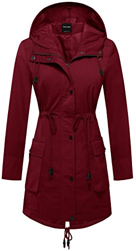 Wantdo Women's Thigh-Lenghth Trench Coat Fishtail Hooded Parka Coat Jacket with Waist Drawstring US Small Red