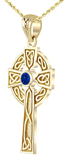 Celtic Cross Sapphire - US Jewels And Gems 14k Yellow Gold Chatham Synthetic Sapphire Irish Celtic Cross Pendant, 24in 1.75mm Rope Necklace