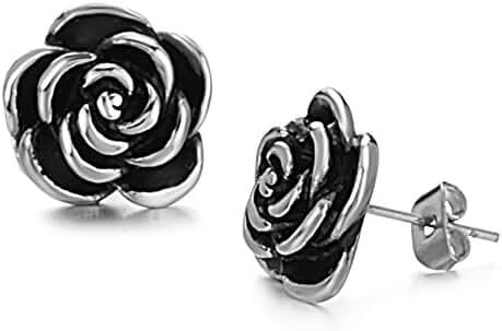 Fashion Jewelry Women's Earrings Flowers Titanium Steel Girls Earrings Stud Earrings in a Gift Box
